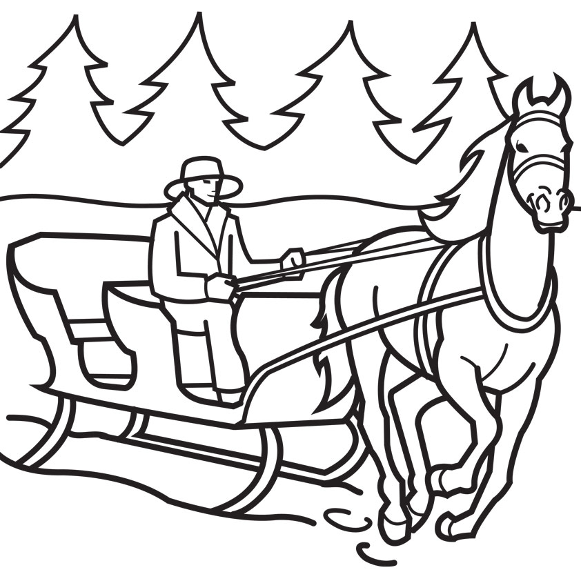 842x842 Horse Drawn Sleigh Coloring Page Coloring Pages Now Coloring