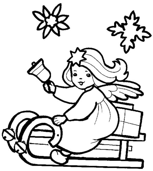 600x671 Little Christmas Angel On A Sleigh Coloring Pages