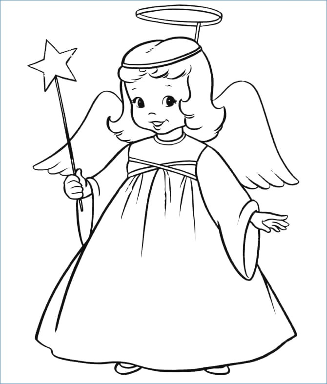 670x787 Little Christmas Angel On A Sleigh Coloring Pages