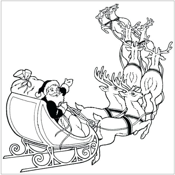 600x600 Santa In A Sleigh Coloring Page Coloring Pages Free Printable