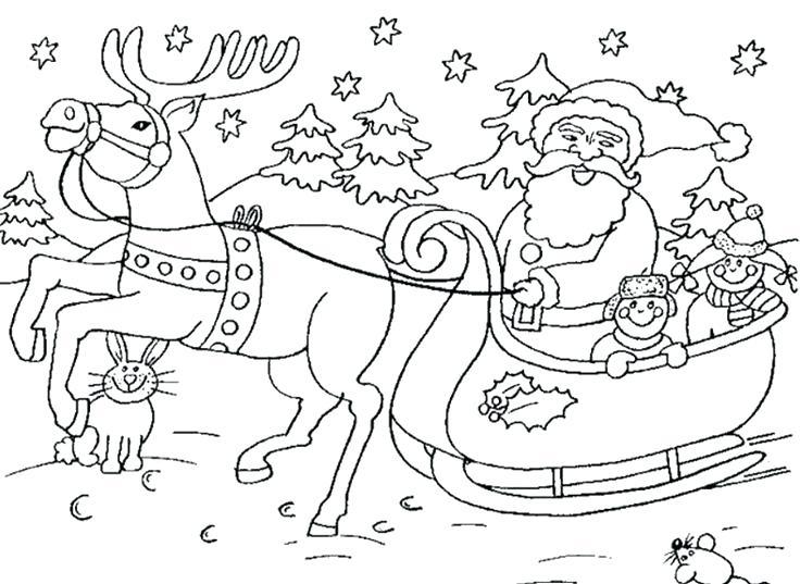 736x537 Santa Sleigh Coloring Page Azke Info Regarding Designs