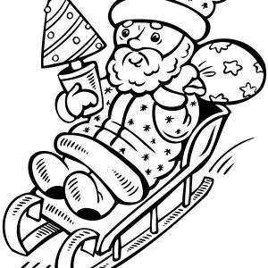 300x300 Santa Sleigh Coloring Pages Printable New And Reindeer Coloring