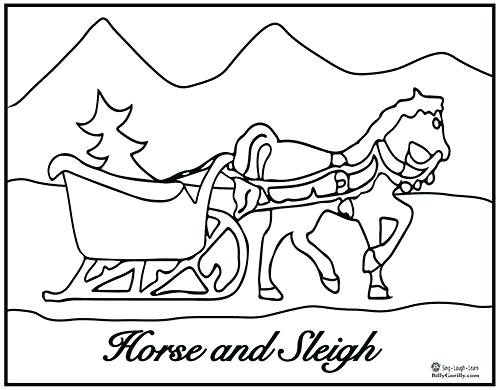 500x390 Winter Holiday Coloring Pages Horse And Sleigh Coloring Page