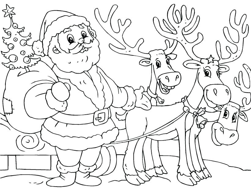 821x620 Coloring Pages Of Santa Claus In His Sleigh Santa Sleigh Coloring