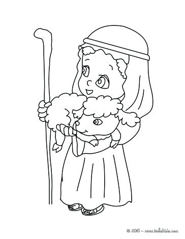 364x470 Bread Coloring Page Shepherd Man With Lamb In His Arms Coloring