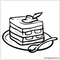 235x233 Slice Cake Coloring Page Food Coloring Pages Free