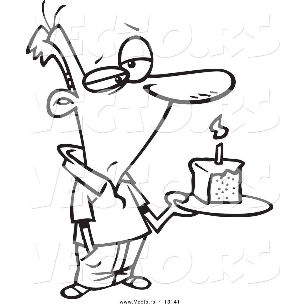 1024x1044 Vector Of A Cartoon Grumpy Birthday Man Holding A Slice Of Cake