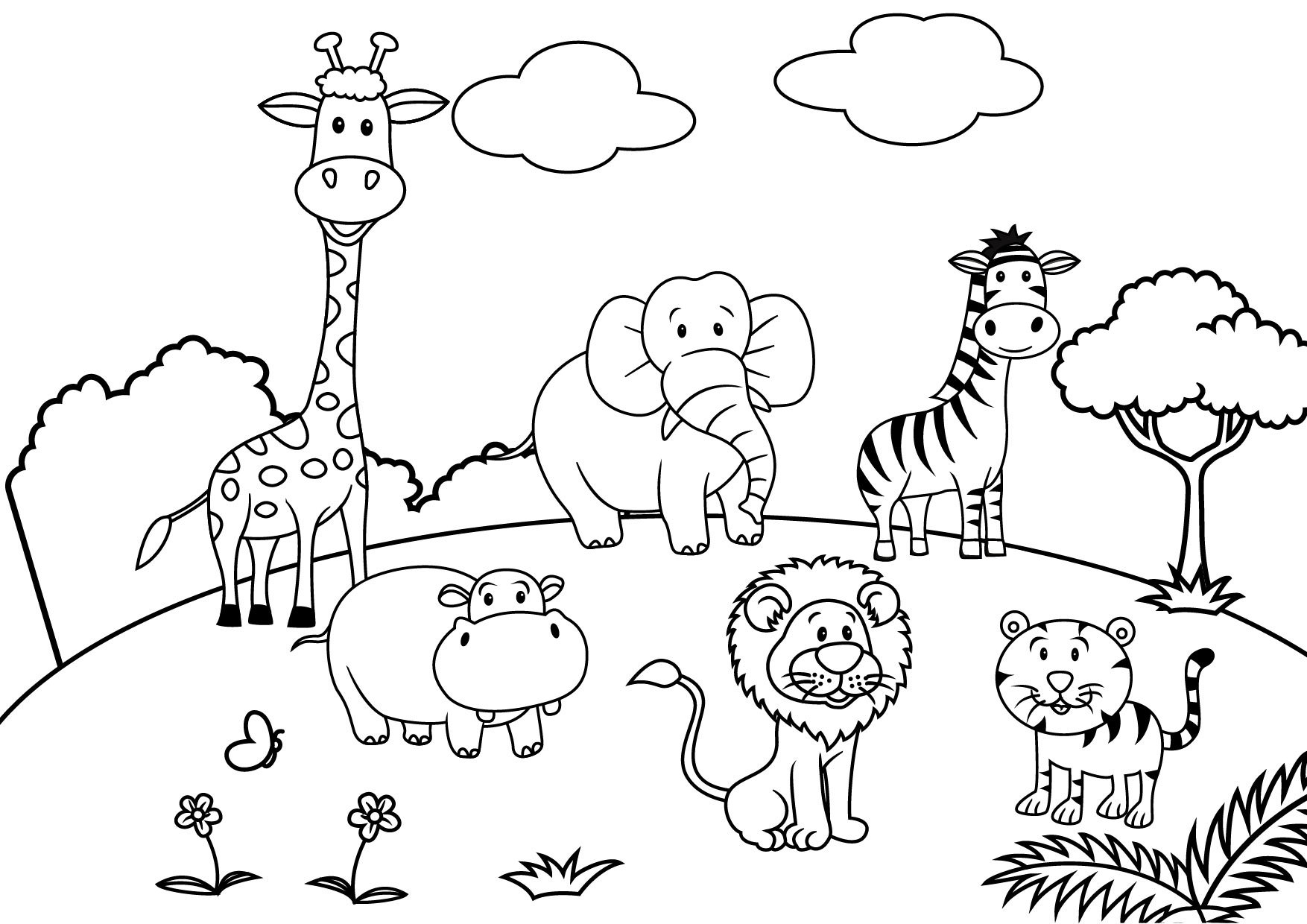 1754x1240 Pig On The Playground Slide Coloring Page Free Printable New Pages