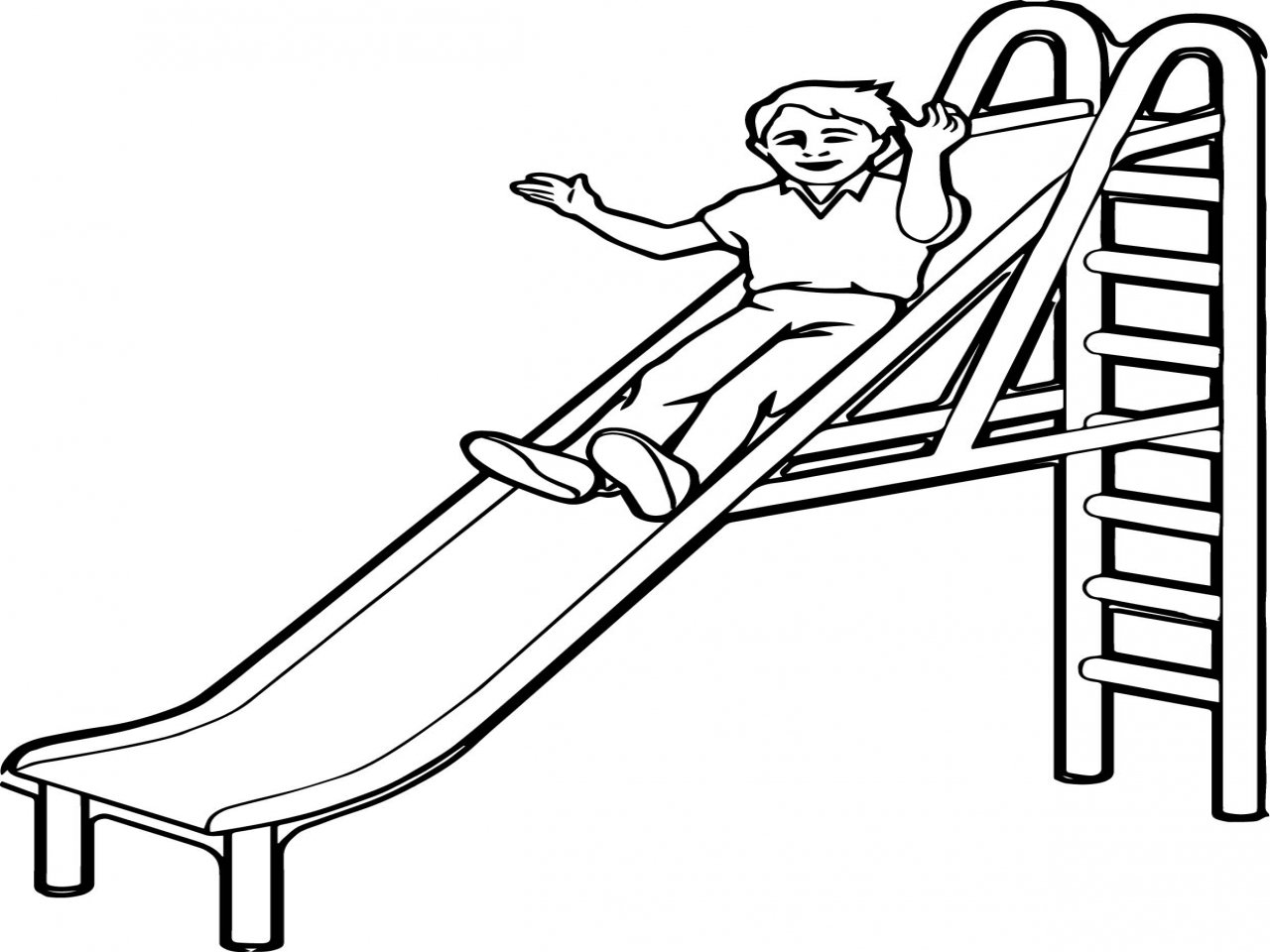 1280x960 Playground Coloring Pages Slide Kid Page Wecoloringpage