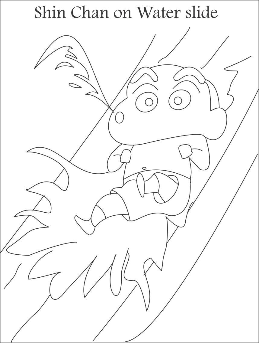 858x1134 Shin Chan Water Slide Coloring Page For Kids