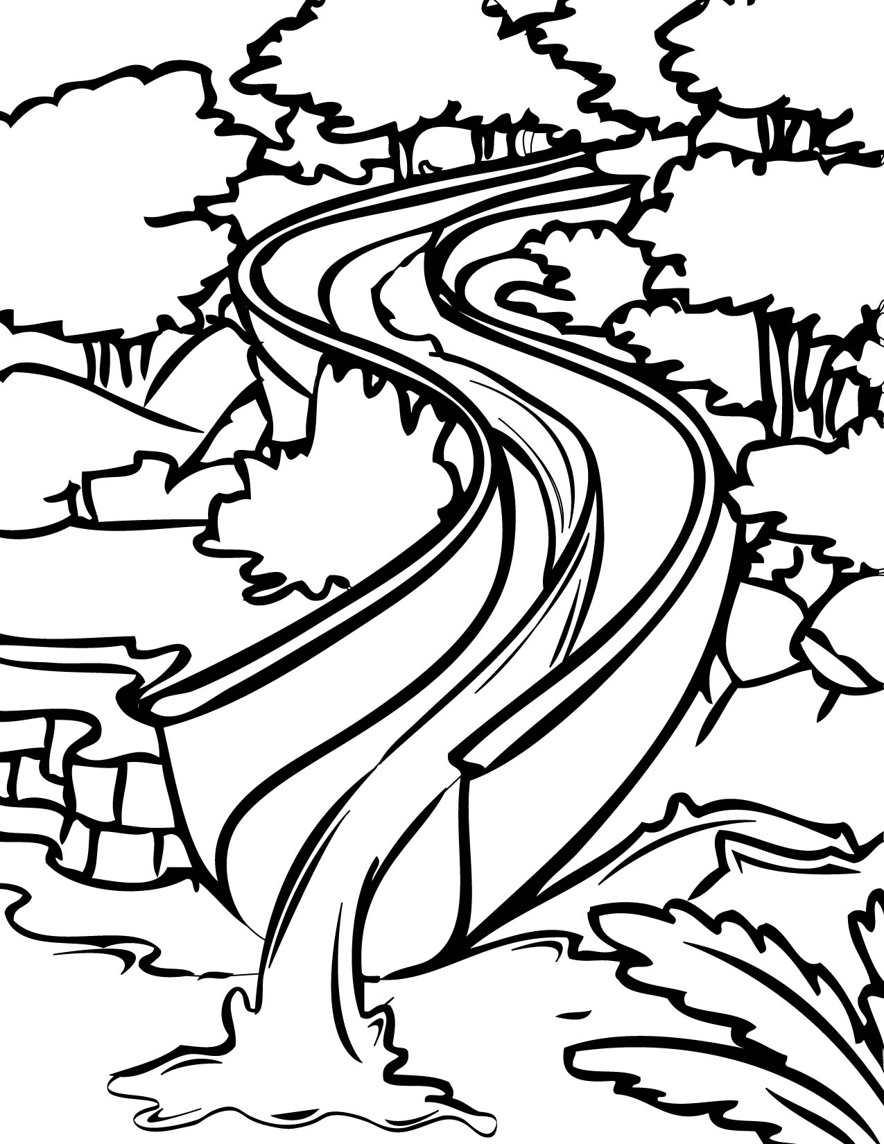 1275x1650 Water Slide Coloring Page