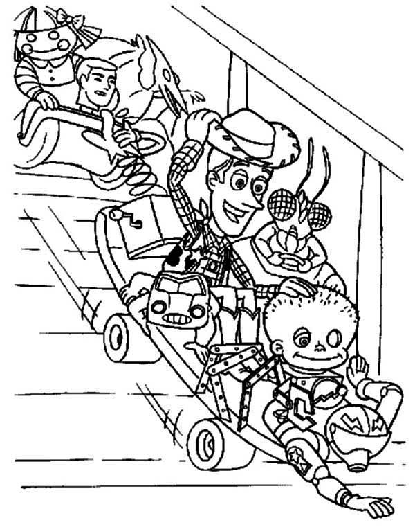 600x761 Woddy And Other Toys Playing Slide Coloring Page