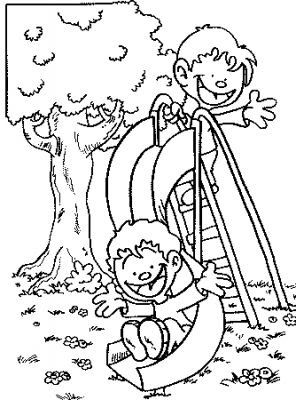 296x400 Free Coloring Page Kids On Slide