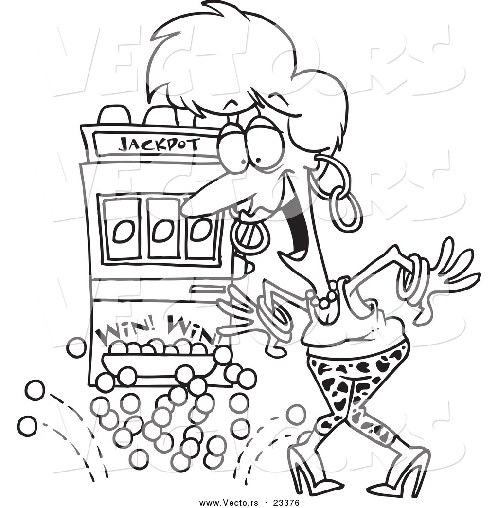 1024x1044 Cartoon Vector Of Cartoon Woman Winning The Jackpot