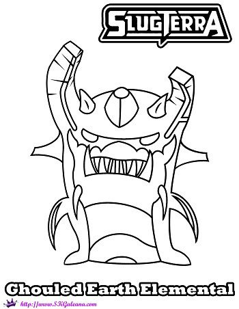 350x452 Slugterra Ghoul Earth Elemental Printable Coloring Page! Earth