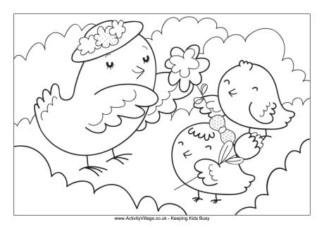 460x325 Mother And Baby Birds Colouring Page
