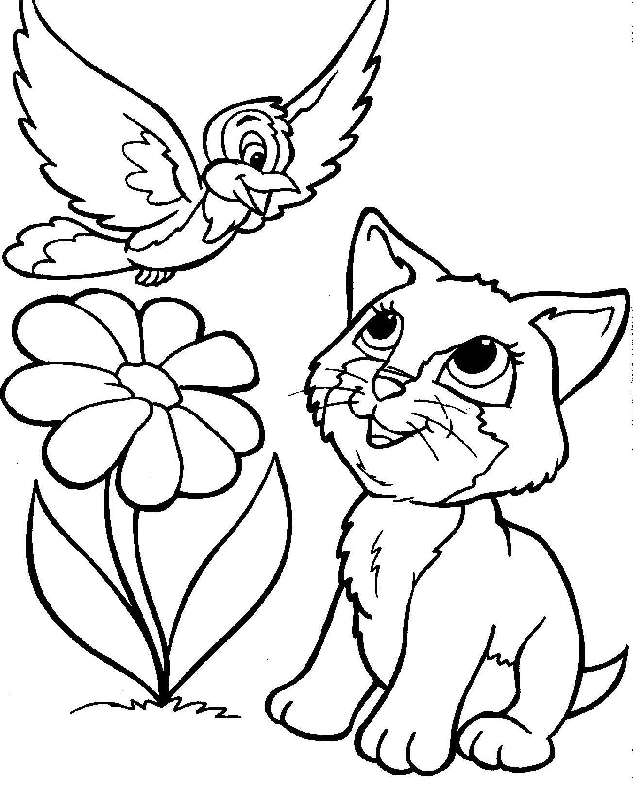 1324x1632 Vogel En Kat Coloring Pages Kids Stamps, Digi