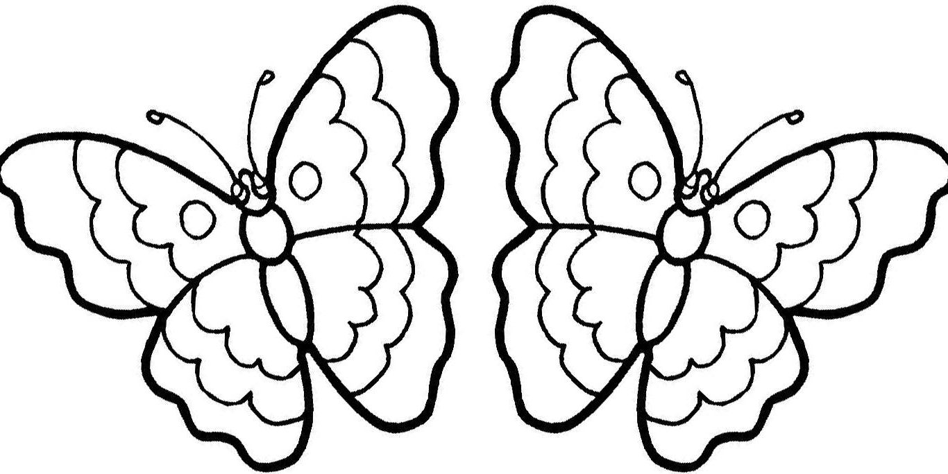 1366x684 Butterfly Coloring Pages Free Simple Kindergarten Monarch Print