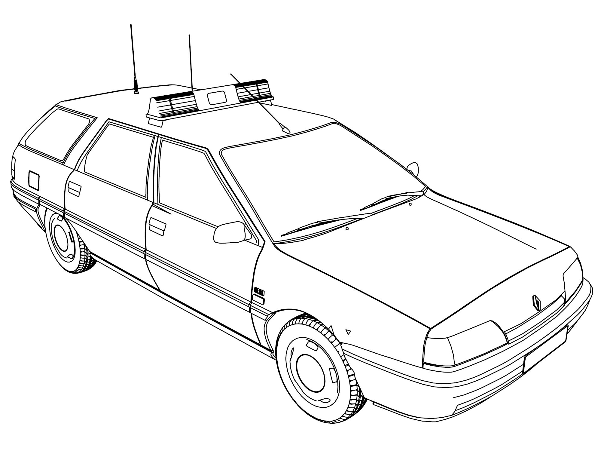 2000x1500 Fashionable Idea Police Car Coloring Page Small For Kids
