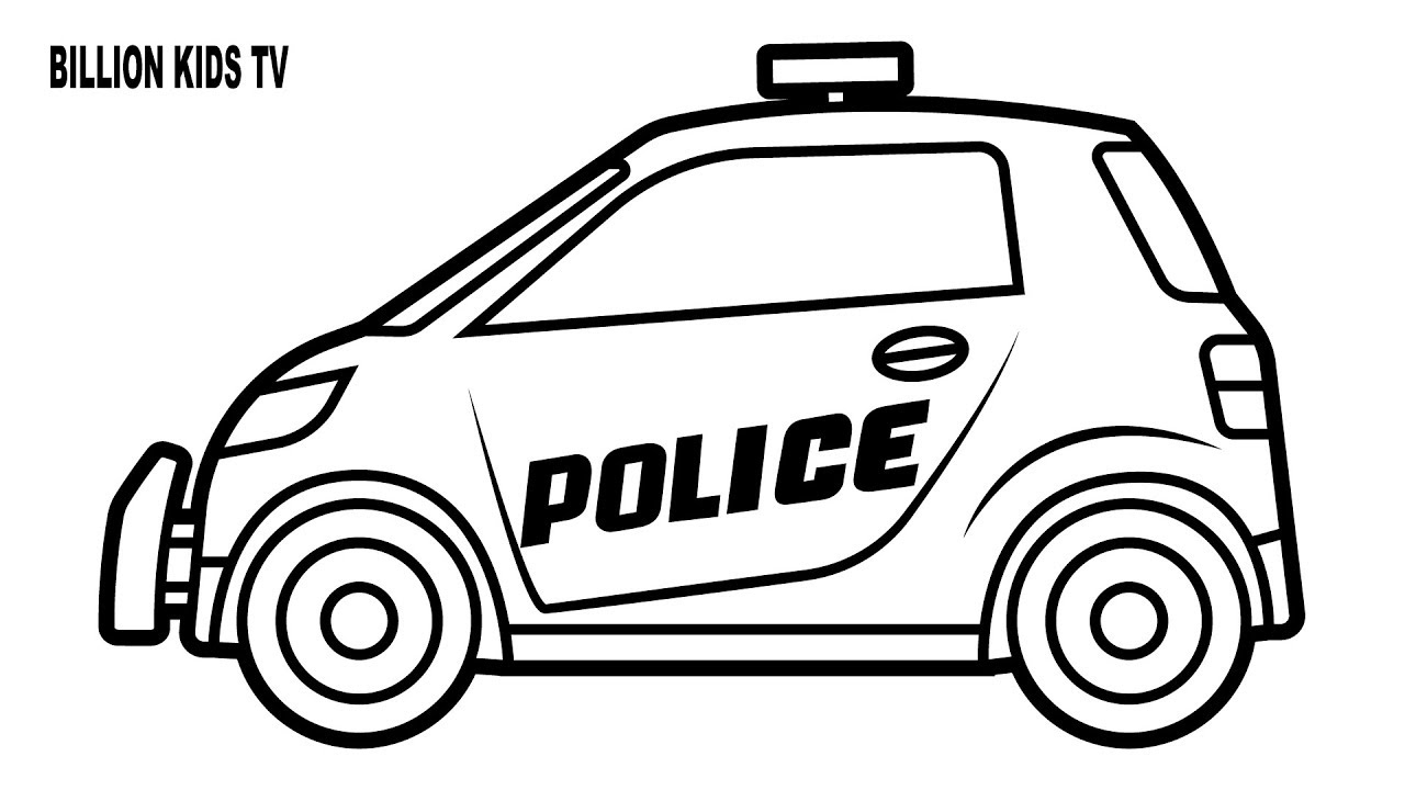 1280x720 Small Police Car Coloring Pages, Colors For Kids With Vehicles