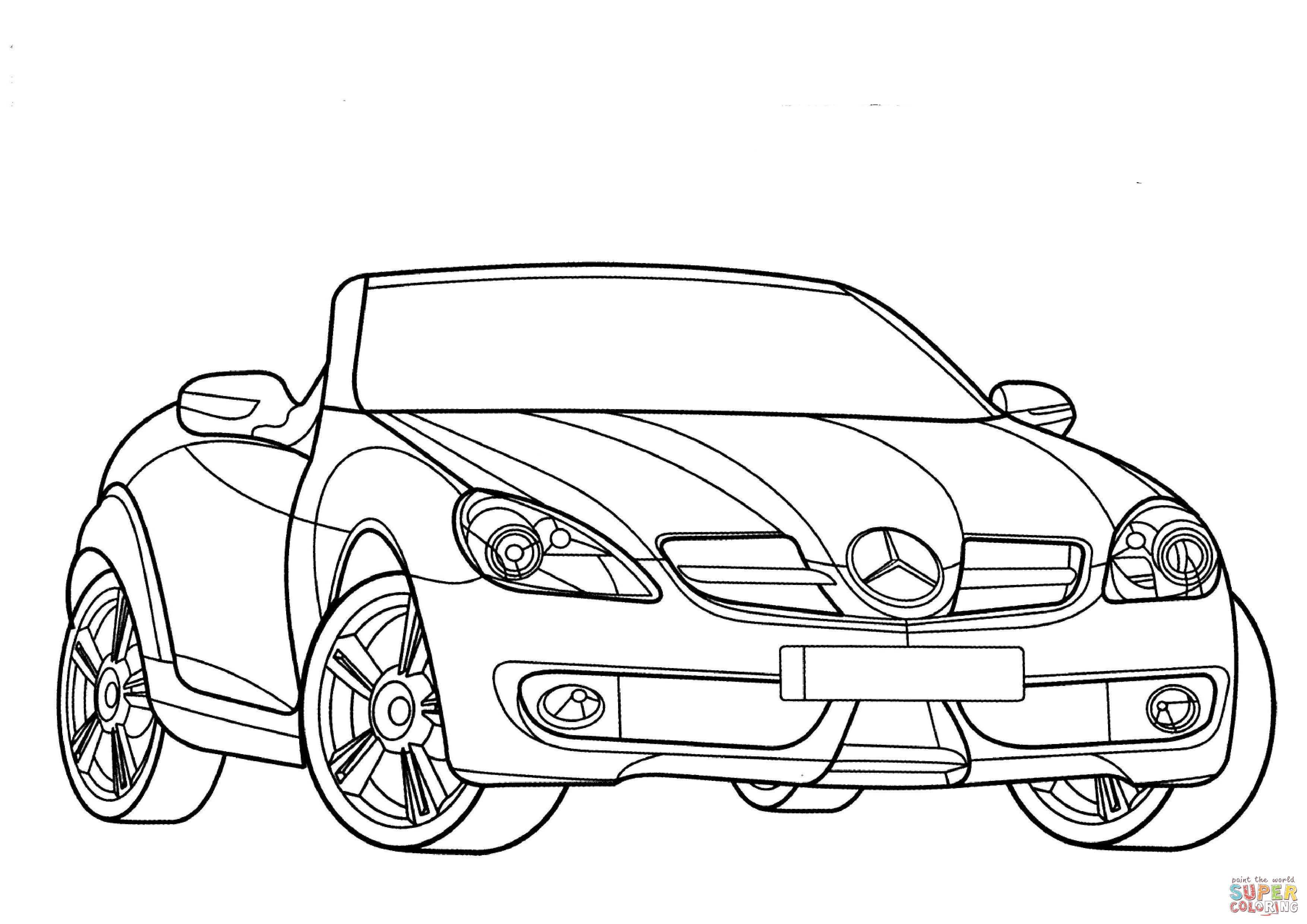 3508x2480 The Smart Car No Roof Convertible Mercedes Slk Coloring Page