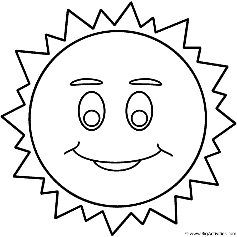 900x900 Sun With Smiley Face Coloring Page Space Smiley Face Coloring Page