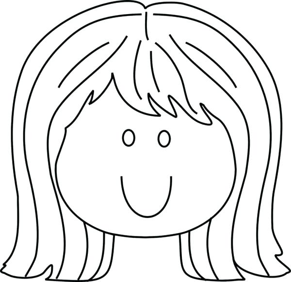 600x582 Girl Face Coloring Page Little Girl Smiling Face Coloring Page