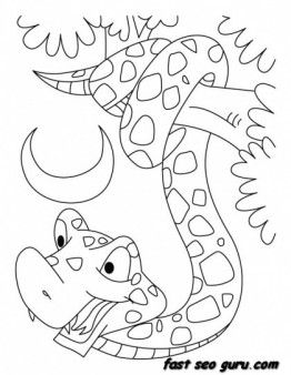 262x338 Printable King Cobra Snake Coloring Pages