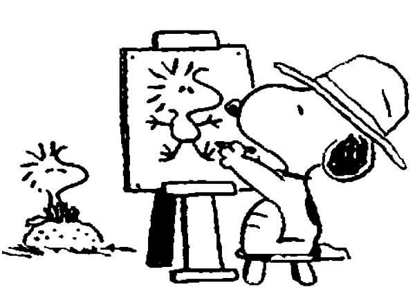 600x441 Snoopy Drawing Woodstock On Canvas Coloring Pages Best Place