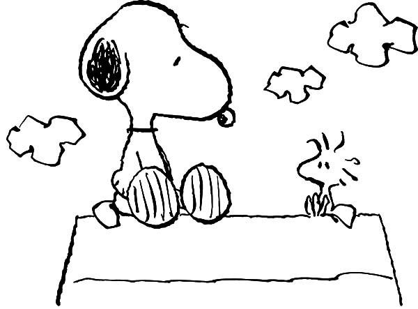 600x443 Snoopy And Woodstock Coloring Pages Snoopy Sitting With Woodstock