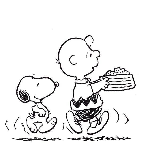 600x709 Snoopy And Charlie Bring Birthday Cake Coloring Pages Best Place