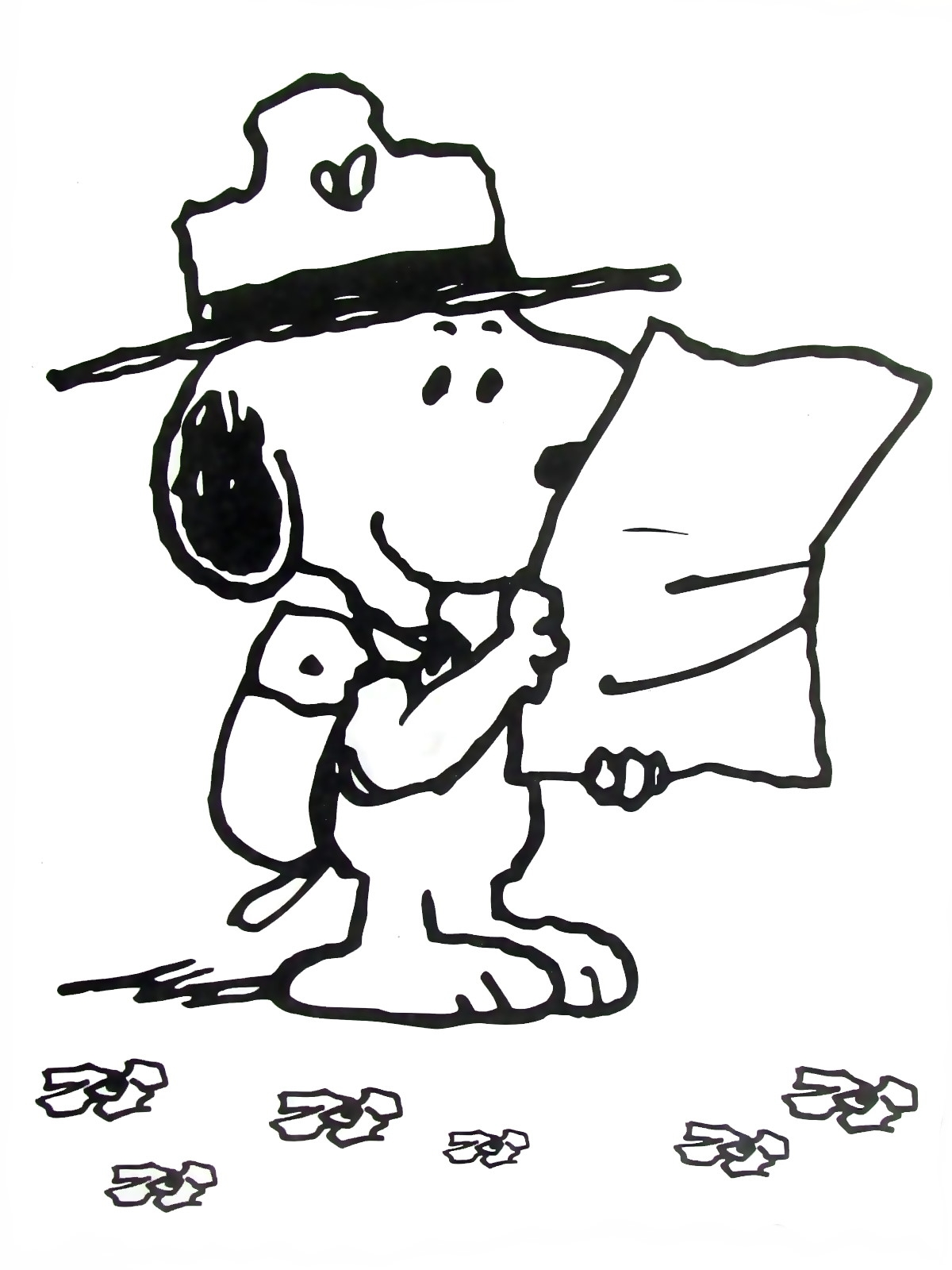 1200x1600 Snoopy With Map Peanuts Gang Coloring Book Page Printable Free
