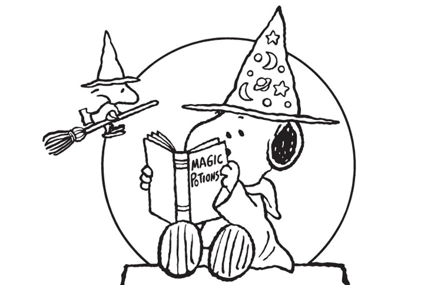 850x570 Snoopy Halloween Coloring Pages Peanuts Halloween Coloring Pages
