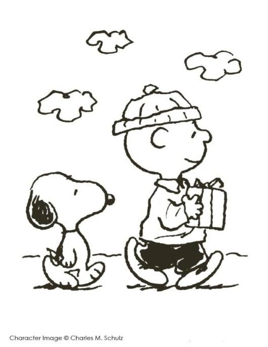 530x686 Charlie Brown And Snoopy Christmas Coloring Page