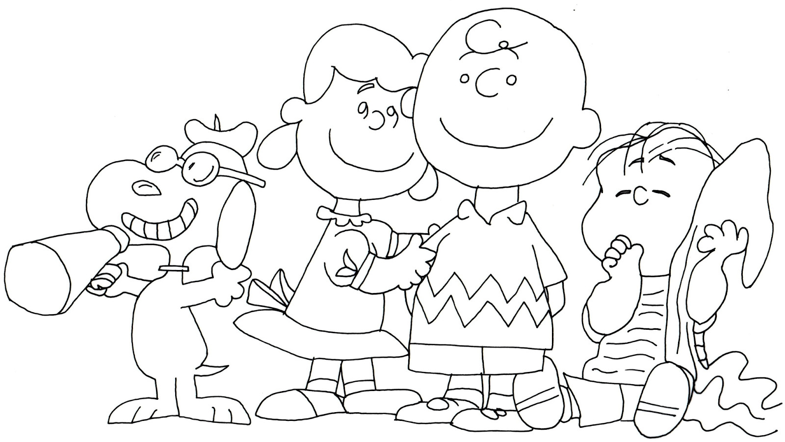 1600x902 Free Printable Coloring Page For Snoopy Lucy Charlie Brown