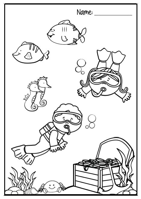 Snorkeling Coloring Pages