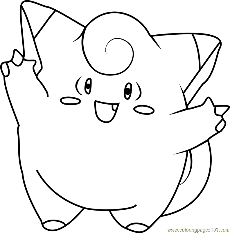 792x800 Clefairy Pokemon Coloring Page
