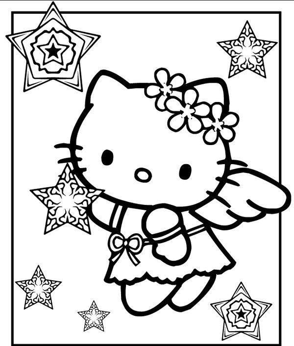 600x706 Hello Kitty Christmas Coloring Pages