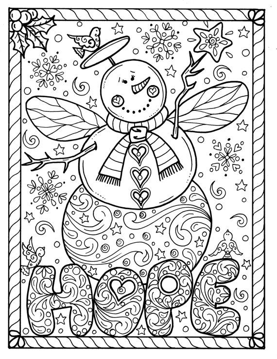 570x738 Snow Angel Instant Download Christmas Coloring Page Holidays Adult