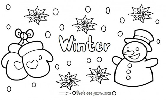 561x338 Printable Winter Snowman Coloring Pages
