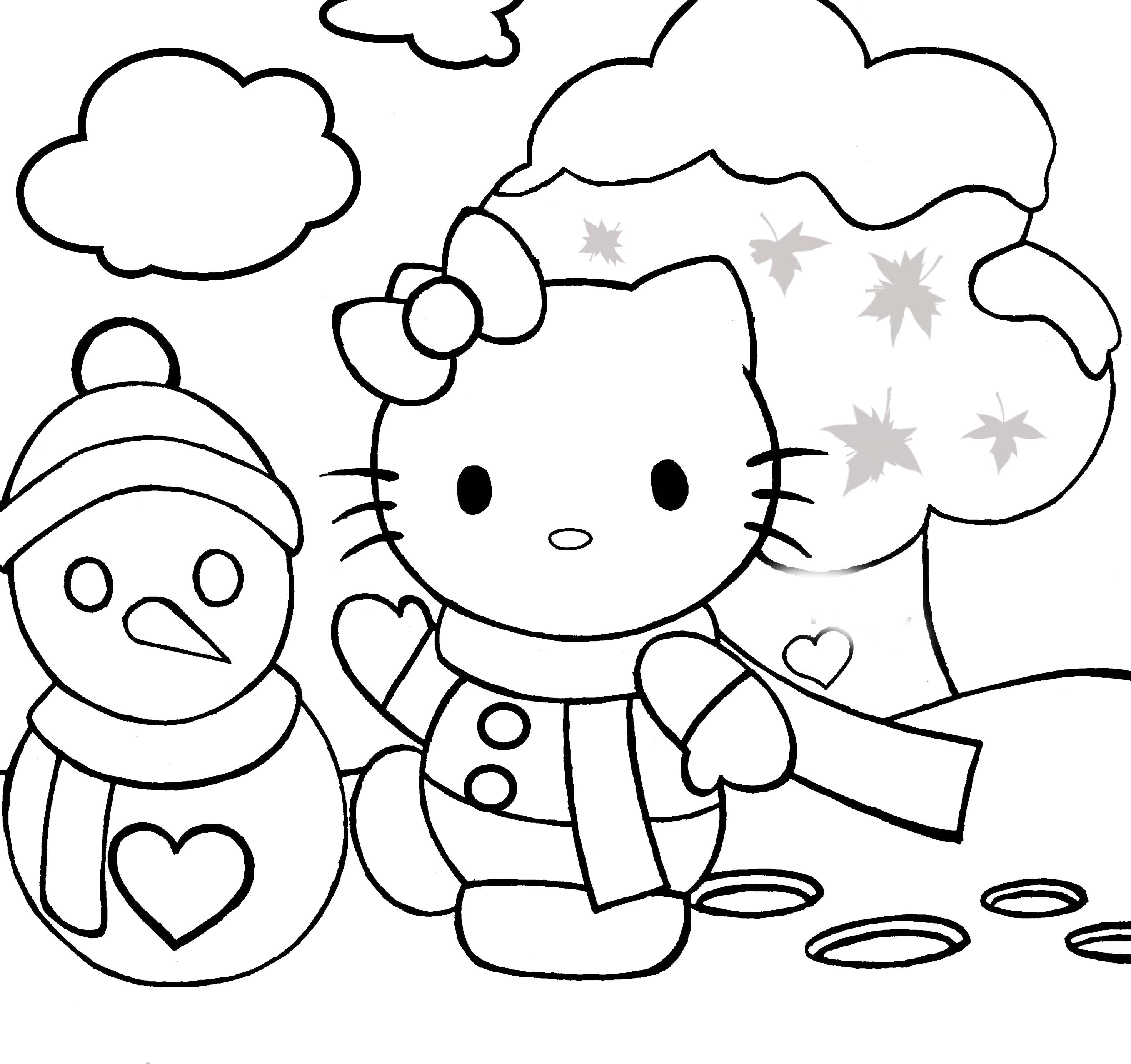 2940x2766 Hello Kitty Snow Coloring Pages Page Preschool