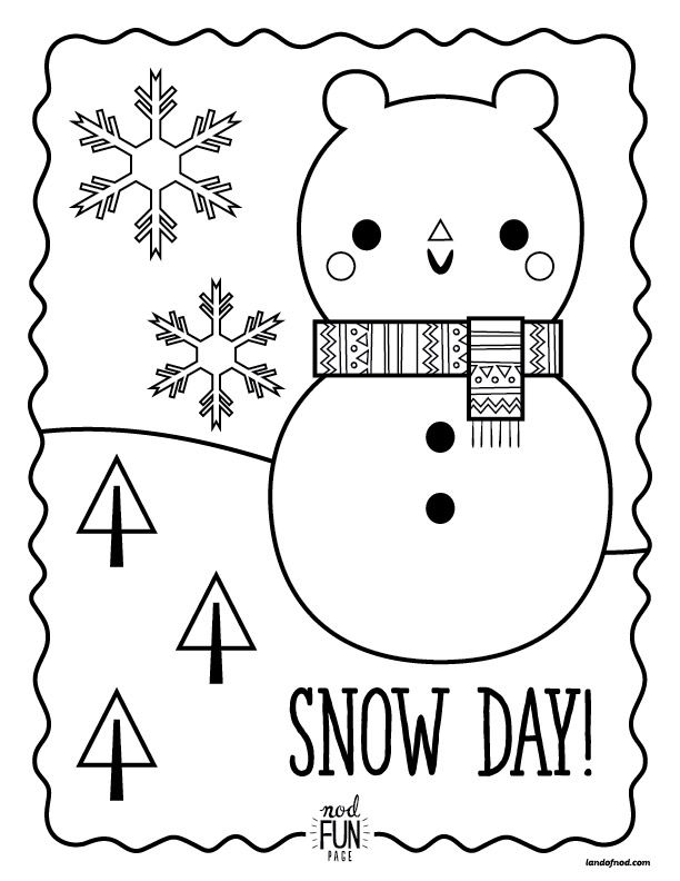 612x792 Nod Printable Coloring Pages Snow Day Snow, Crafty Kids