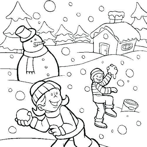 500x500 Snowy Day Coloring Page Snowy Day Coloring Page Snow Day Black