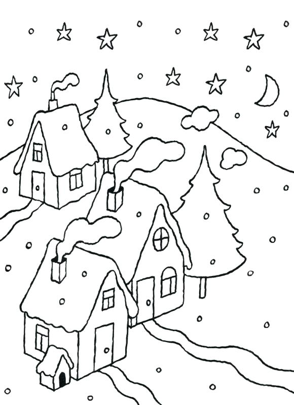 580x800 Snowy Day Coloring Page Snowy Day Coloring Page White Coloring