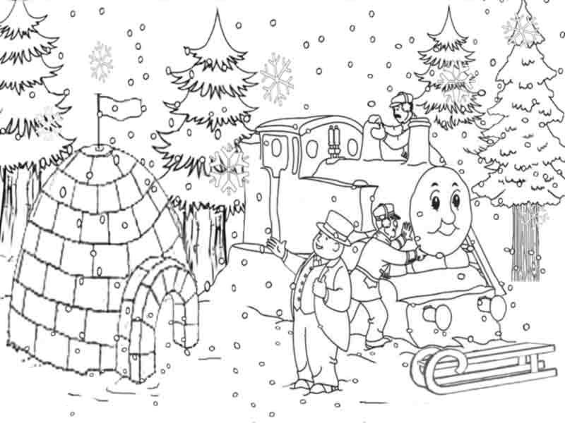 800x600 Thomas The Train Coloring Pages Christmas Snow Christmas