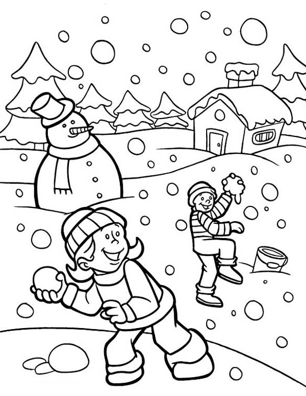 600x775 Funny Snownall Fights During Heavy Snow On Winter Coloring Page