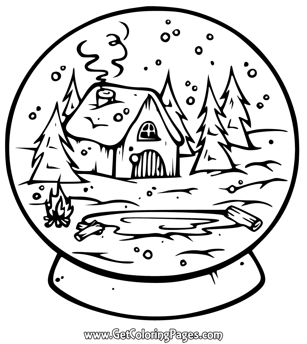 1024x1149 Printable Snow Globe Coloring Page