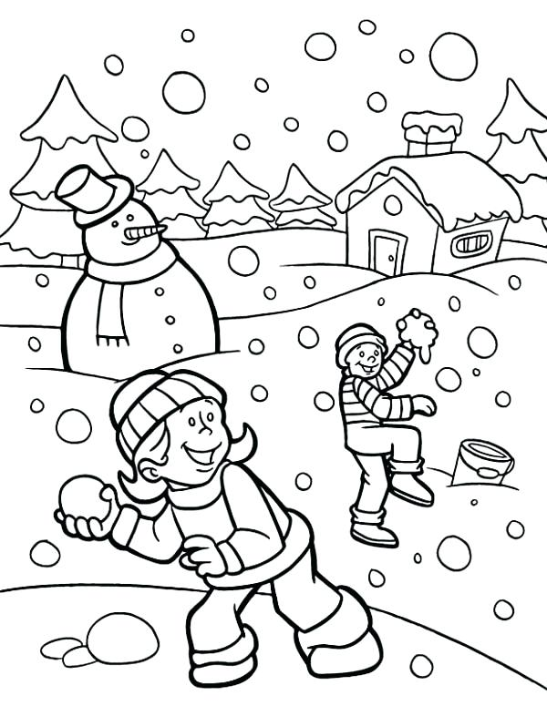 600x775 Snow Coloring Pictures Funny Fights During Heavy Snow On Winter
