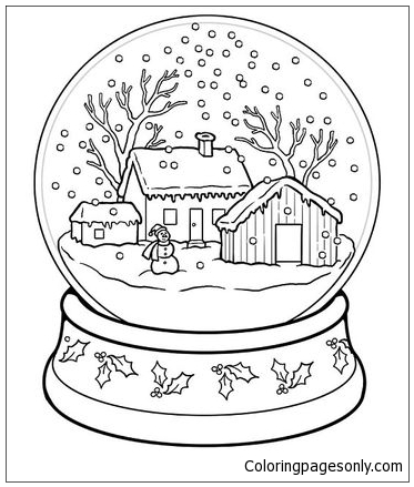 373x439 Snow Globe Coloring Page