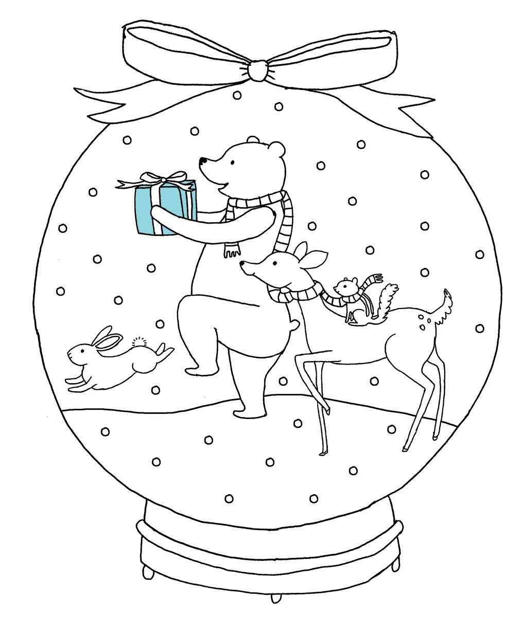 1014x1200 Snow Globe Coloring Page